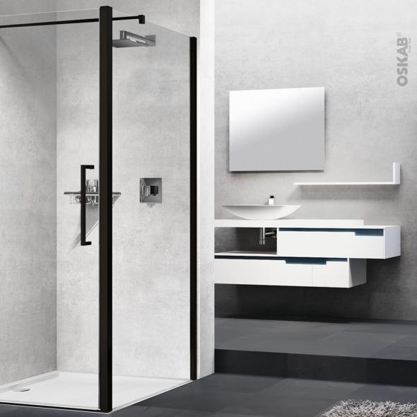 paroi de douche fixe laterale novellini 70 cm verre transparent profiles noirs