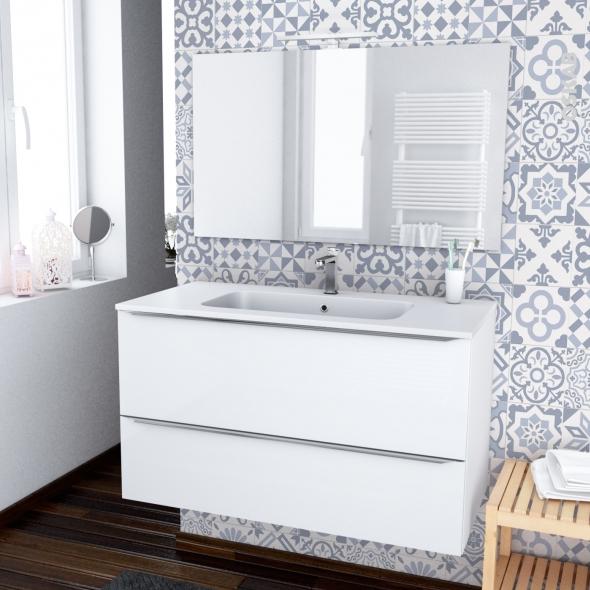ensemble salle de bains meuble bora blanc plan vasque resine miroir et eclairage l100 5 x h58 5 x p50 5 cm