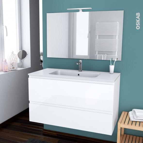 Ensemble Salle De Bains Meuble Ipoma Blanc Brillant Plan Vasque Resine Miroir Et Eclairage L100 5 X H58 5 X P50 5 Cm Oskab