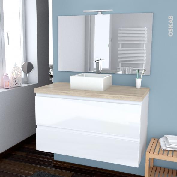 ensemble salle de bains meuble ipoma blanc brillant plan de toilette chene clair ikoro vasque carree miroir et eclairage l100 x h57 x p50 cm