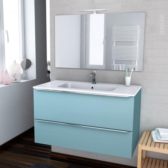 Ensemble Salle De Bains Meuble Keria Bleu Plan Vasque Resine Miroir Et Eclairage L100 5 X H58 5 X P50 5 Cm Oskab