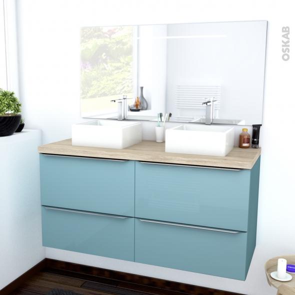 Ensemble Salle De Bains Meuble Keria Bleu Plan De Toilette Chene Clair Ikoro Double Vasque Miroir Lumineux L120 X H57 X P50 Cm Oskab