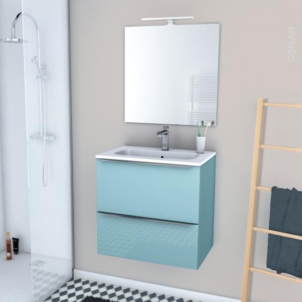 Ensemble Salle De Bains Meuble Keria Bleu Plan Vasque Resine Miroir Et Eclairage L60 5 X H58 5 X P40 5 Cm Oskab