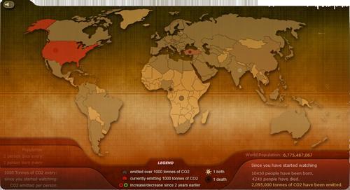 Breathing Earth : simulation d'émission de CO2 dans le monde