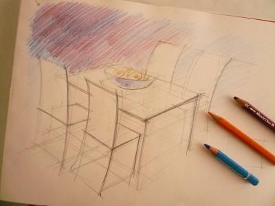 dessiner une table et des chaises au