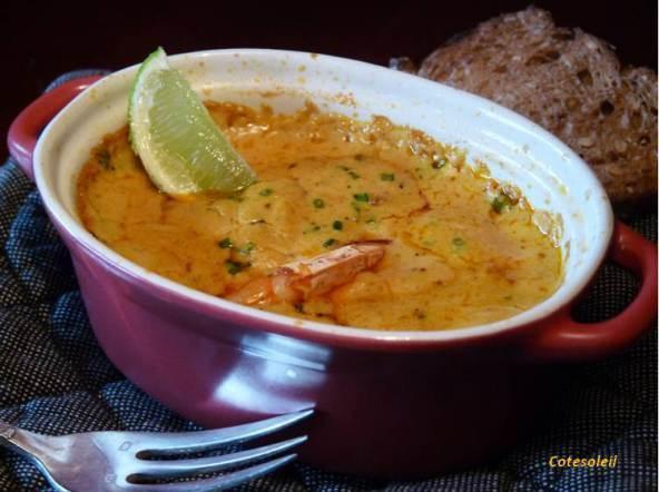 Gratin de gambas au curry