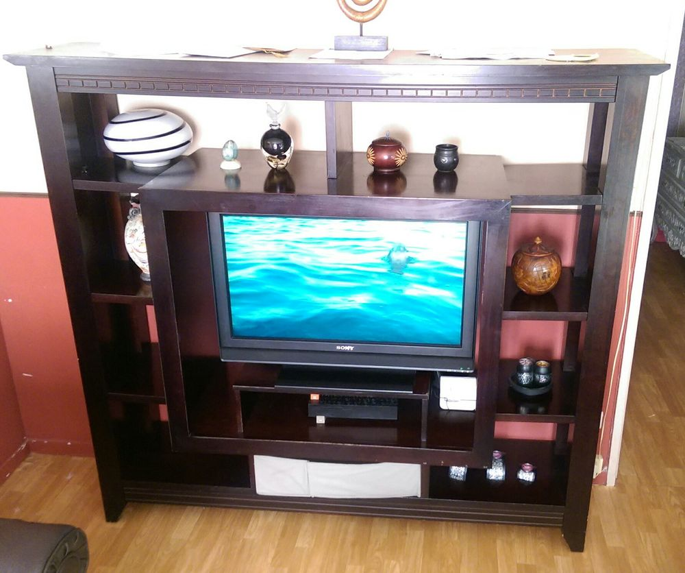 meuble tv bibliotheque wenge a 110