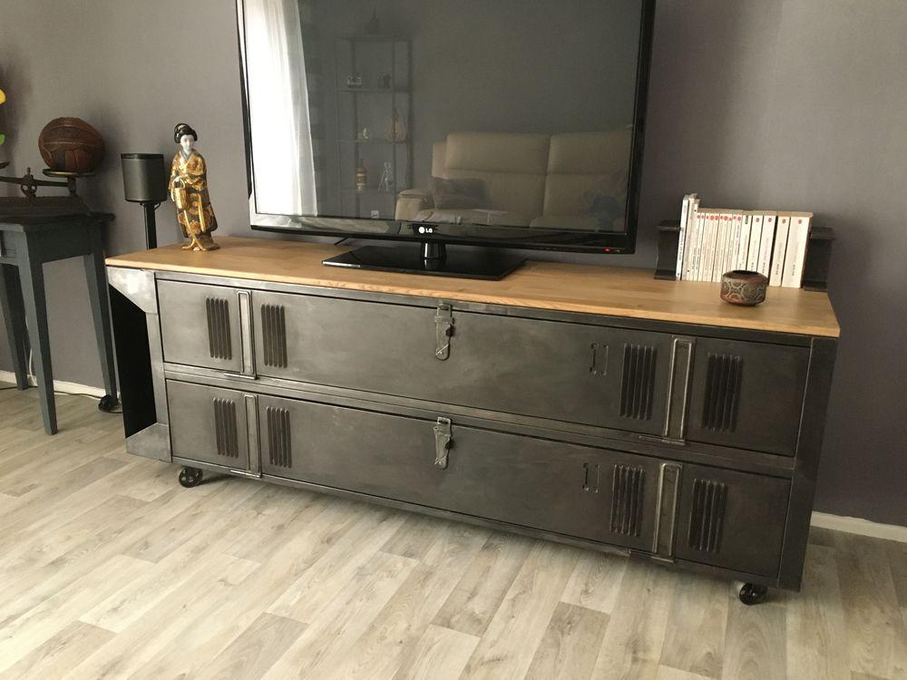 meuble tv vestiaire industriel vintage a 750