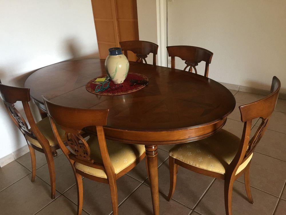 table ovale avec 3 rallonges 6 chaises merisier massif a 200