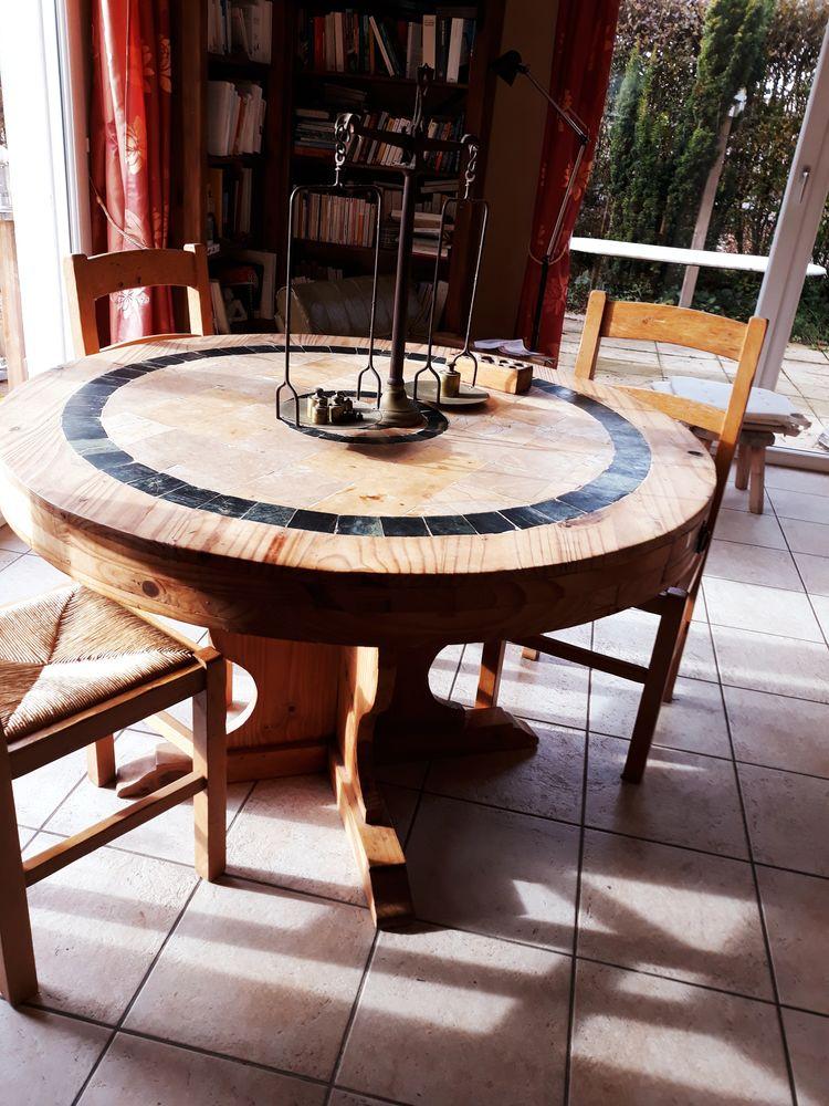 table salle a manger ronde rustique bois pierre a 80