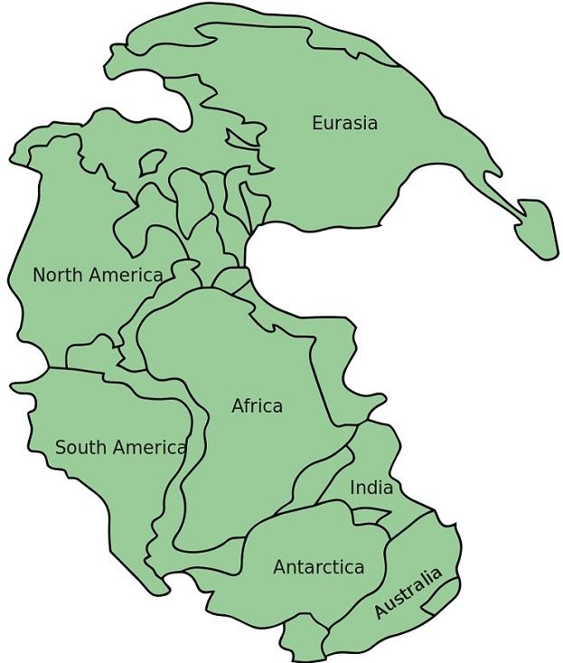 """Χάρτης της Παγγαίας με ονόματα σύγχρονων ηπείρων και χωρών - Credit: <a href=""""https://commons.wikimedia.org/w/index.php?curid=8161694"""" target=""""_blank"""">Kieff - CC BY-SA 3.0</a>"""