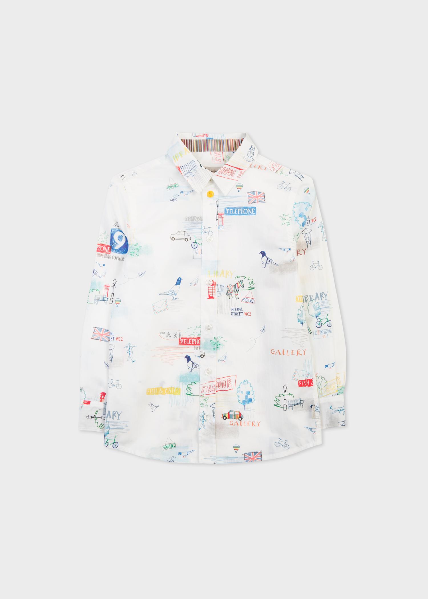Boys 8 Years White London Sketch Motif Shirt