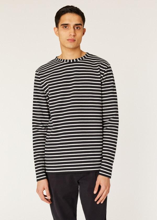 Men' Black And White Stripe Cotton Long-sleeve T-shirt - Paul Smith