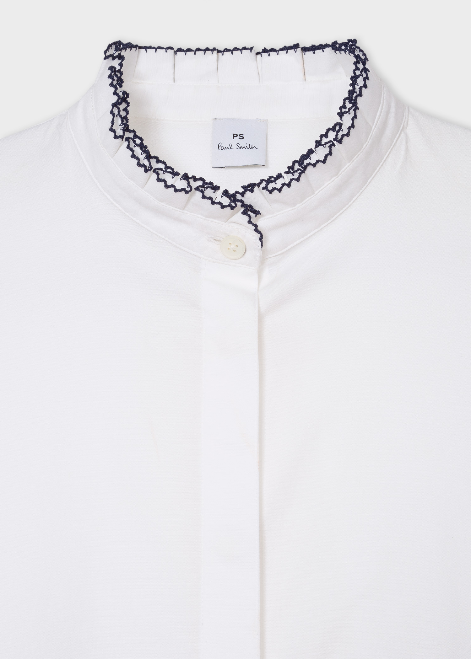 Women S White Stretch Cotton Shirt With Contrast Ruffle