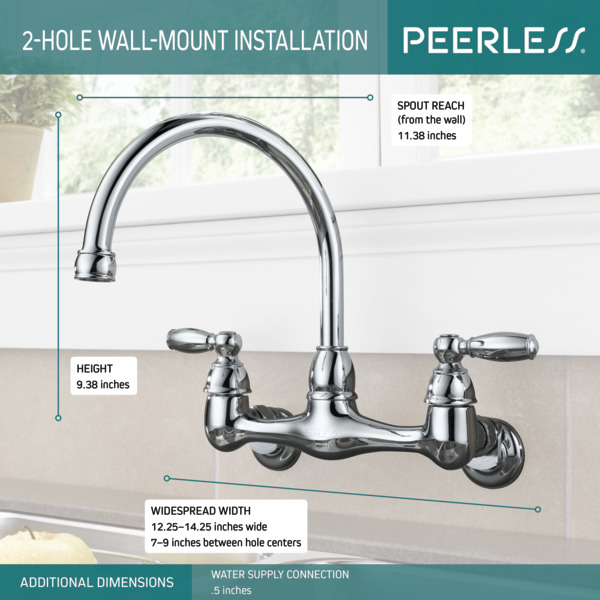 two handle wall mounted kitchen faucet