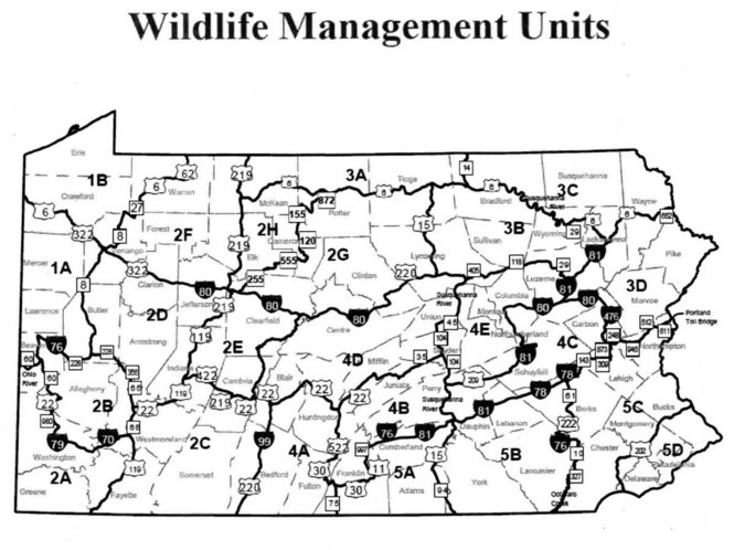 Pennsylvania wildlife management units: limited changes