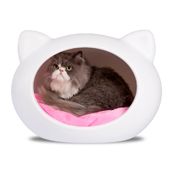 Guisapet Small Cat Cave Bed White with Pink Cushion