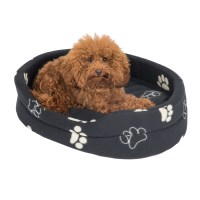 Pets at Home Paw Oval Dog Bed Black Small | Pets At Home