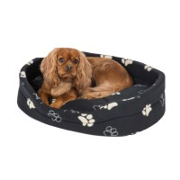Pets at Home Paw Oval Dog Bed Black Medium | Pets At Home