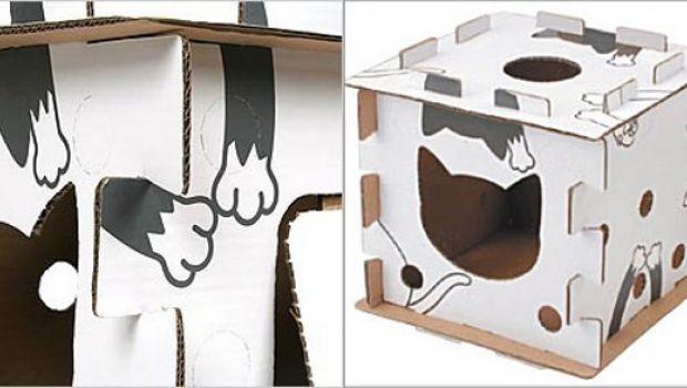 Cuccia per gatti in cartone la Kitty Block