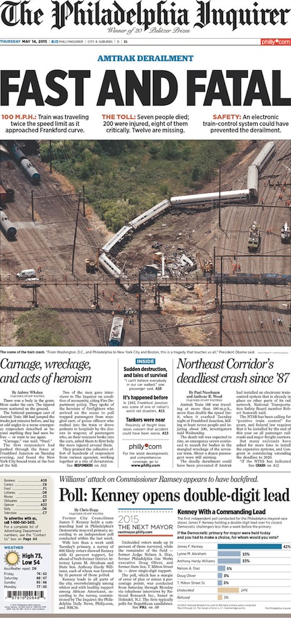 Amtrak derailment Newspaper front pages  Philly