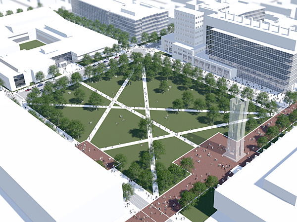 In its master plan, Temple University envisions creating a new green space, the size of city block that will be bordered to the west by a new library.
