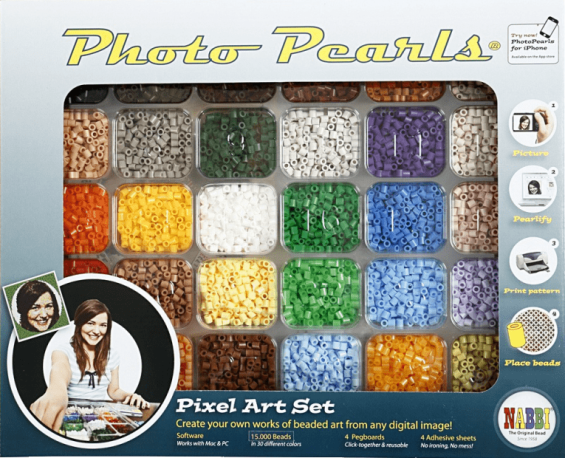 The PhotoPearls starter package with beads sorted in a tray.