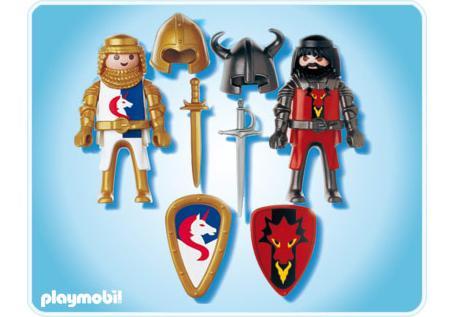 Playmobil Duo Chevalier Dragon Rouge Et Chevalier Licorne A L