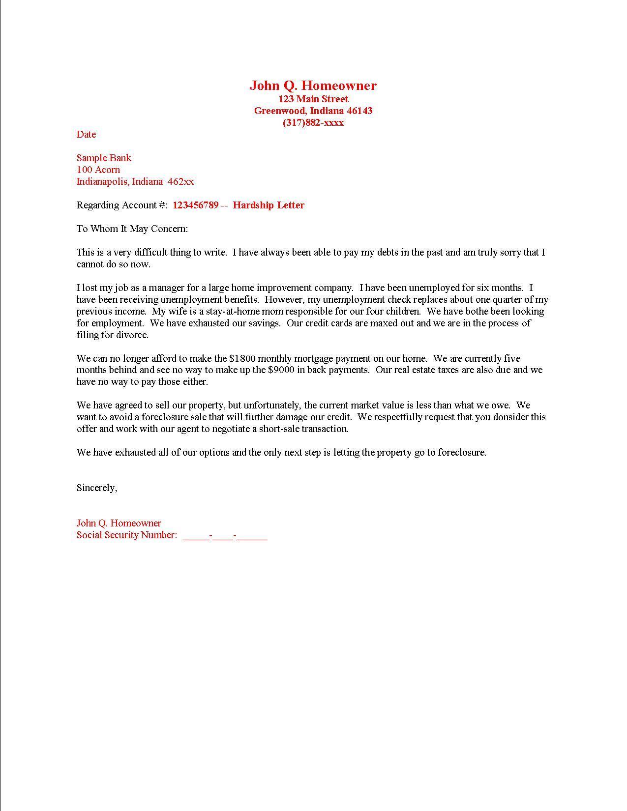 Sample Letter Explaining Financial Hardship