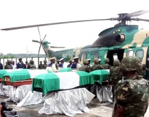 THE REMAINS OF THE VICTIMS OF HALICOPTER CRASH IN YENAGOA