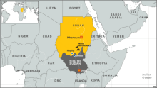 South Sudan on map Photo Credit: voanews.com via google
