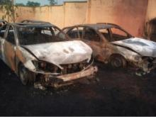 Some of the burnt vehicles