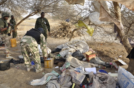 Insurgents camp destroyed by troops of 212 in Marte recently  Photo: Nigerian Army