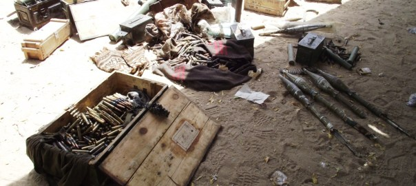 FILE PHOTO: Some of the arms and ammunitions recovered from the Scene of a boko haram attack on Giwa Barracks today, March 14th 2014, Photo: Defence Head Quarters
