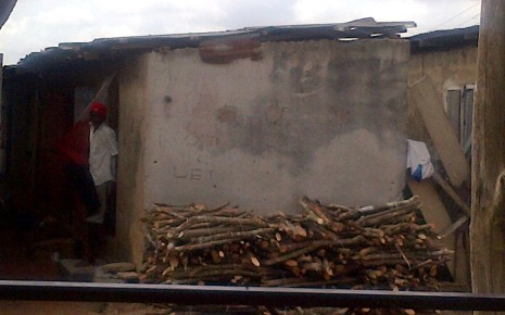 Hawawu's descrepit house-- she was dumped in fron of her house after the rape