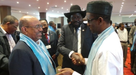 President of the Republic of the Sudan, Omar Hassan al-Bashir, President of South Sudan, Dr. Silva Kirr, congratulating former EFCC chairman Mallam Nuhu Ribadu after his presentation at the Tana High Level Forum on Security in Bahir Dar, Ethiopia,  the previous day