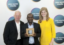 Left to Right: Phil Harding, Vice Chair of One World Media; Musikilu Mojeed, Managing Editor, PREMIUM TIMES; and Prue Clarke, Project Manager (Africa), BBC Media Action... at the event ceremony on Tuesday
