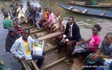 Makoko: The 'production crew' for the BringBacktheGirls' photoshoot on the water