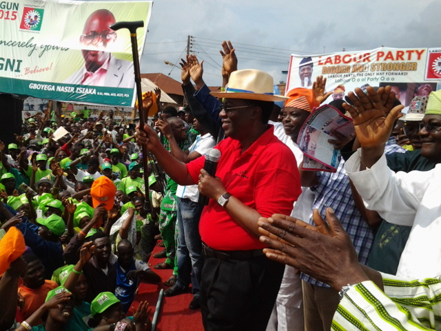 FILE: Ex-Gov. Gbenga Daniel addressing supporters at acampaign