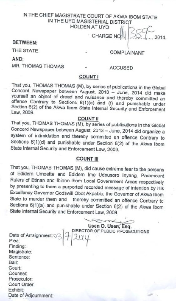Charges against Thomas Thomas of Global Concord