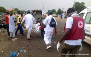 rescue operation at the scene of the blast targeted at Gen Buhari