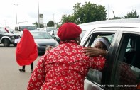 Oby Ezekwesili greets passers by