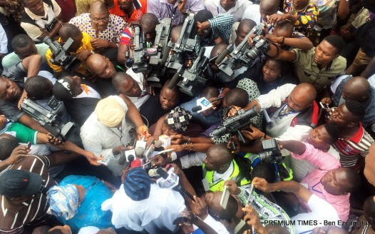 Aregbesola addressing journalist on election dat