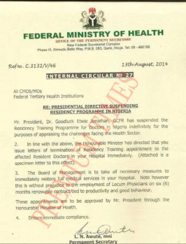 Presidential Directives Suspending Residency Programme in Nigeria