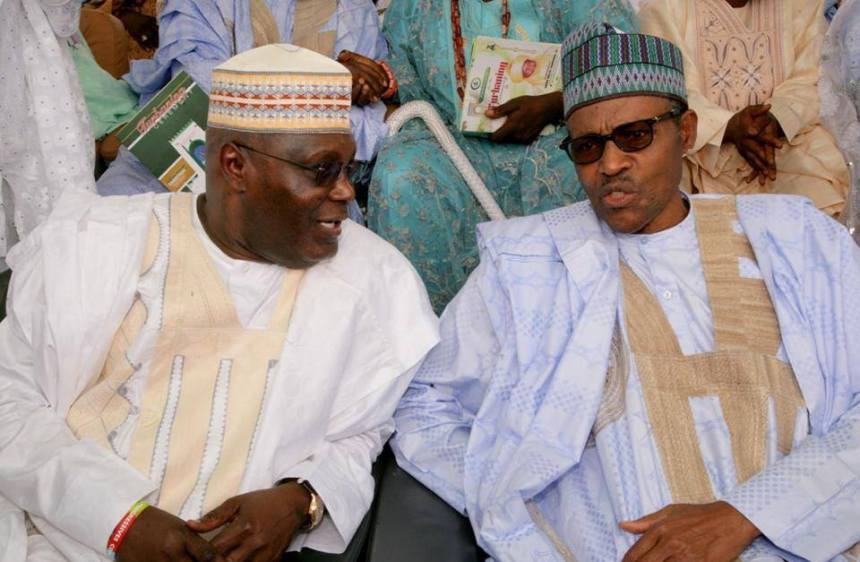Atiku Abubakar and Muhammadu Buhari at the installation of House Speaker, Aminu Tambuwal as Mutawallen Sokoto