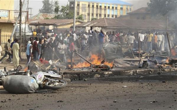 File Photo: Scene of an explosion in Maiduguri on November 25, 2014