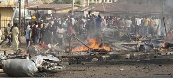 File Photo: Scene of an explosion in Maiduguri on November 25, 2014