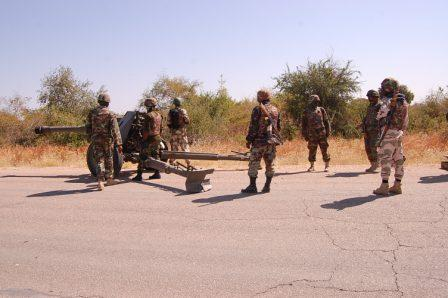 Nigerian Troops  Registering targets with Artillery Guns