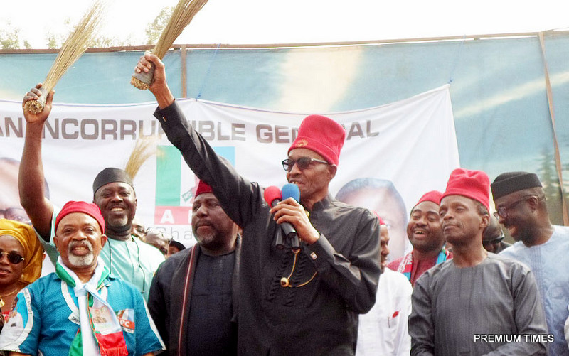 Nigerian President,Muhammadu Buhari in a Presidential campaign rally in 2015