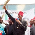 Nigerian President,Muhammadu Buhari in a Presidential campaign rally in 2015